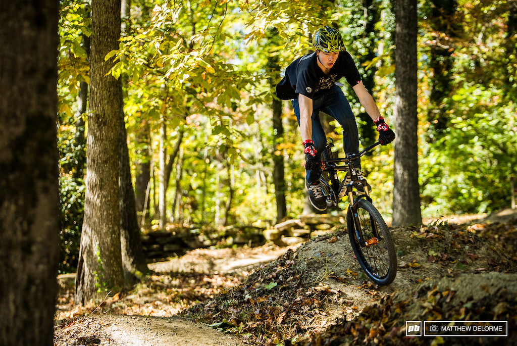 The back yard pump track is a good outlet to let off steam play and keep skills sharp.