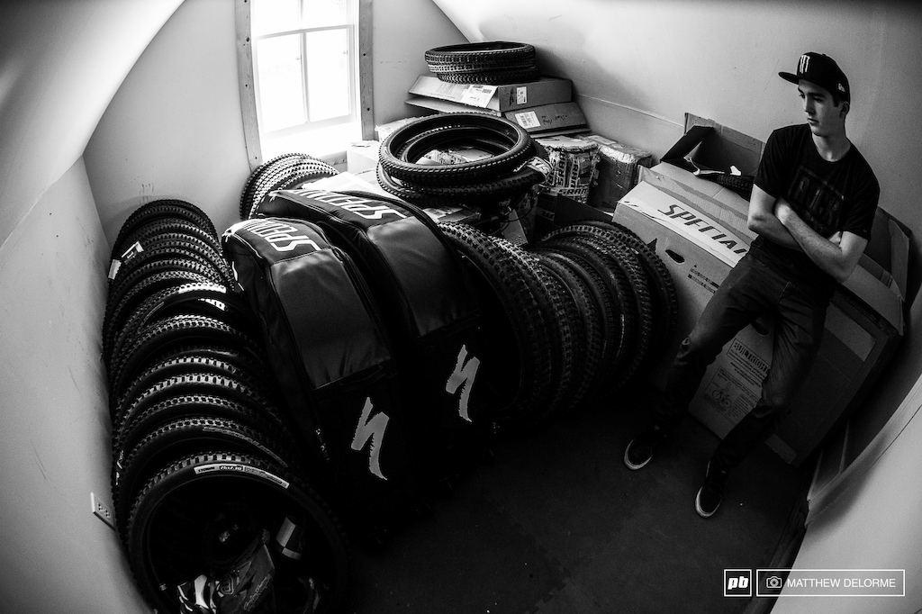 The race room. A season s worth of racing tires and all the gear needed for travel are put away waiting until the start of spring.