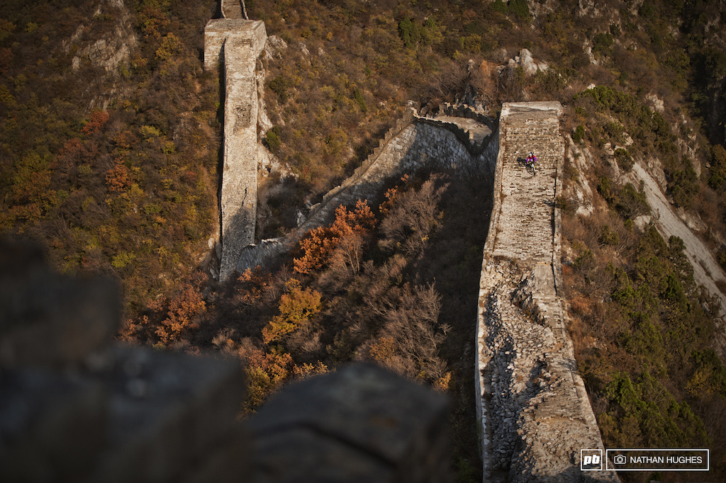 Riding a little-known wall on the outskirts of Beijing.