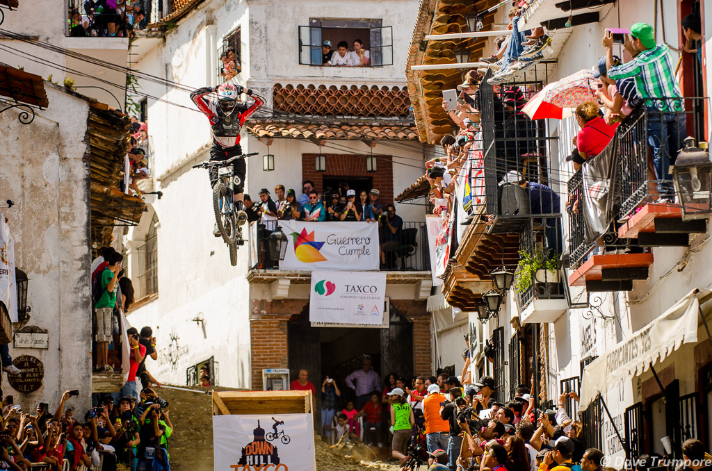 Just relaxing after 3 minutes of charging stairs during Downhill Taxco 2013. Shot by Dave Trumpore. remymetailler