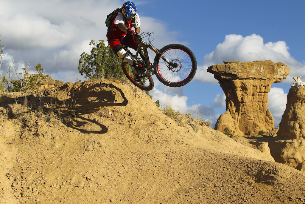 Although this is no Rampage Gaspi is still having fun on the bike.