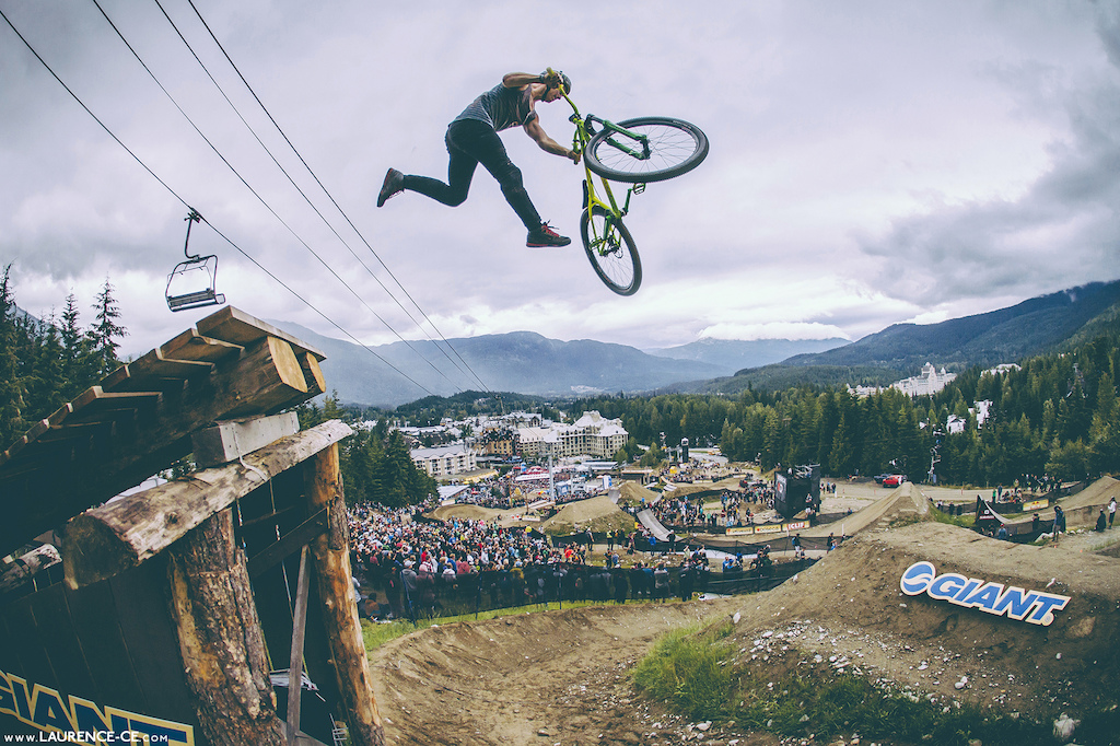 Pligrim whipping the boner log step down - Crankworx Recited Whistler BC 2013 - Find the article on Pinkbike - Laurence CE - www.laurence-ce.com