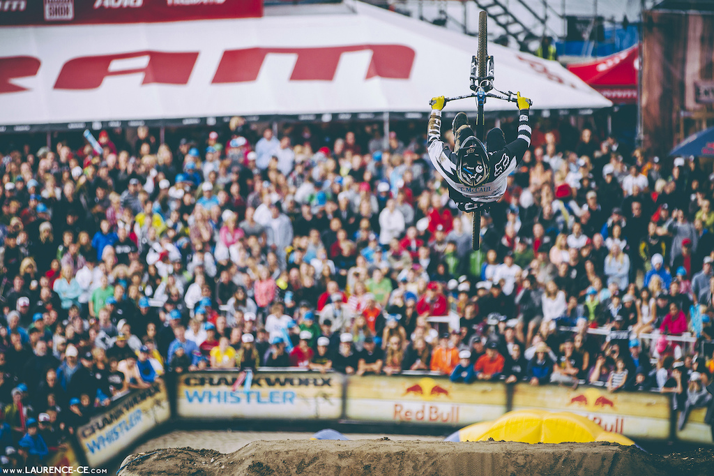 Tyler with a big flip to end - Crankworx Recited Whistler BC 2013 - Find the article on Pinkbike - Laurence CE - www.laurence-ce.com
