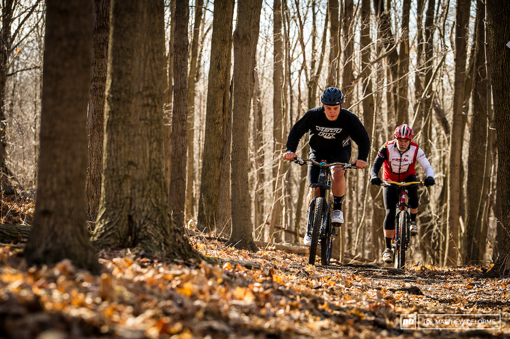 In the Rude house is a photo of a young Richie at six or seven years old in a cross country race with his Dad Rich Sr. behind him. Here Rich chases Richie like old times on a weekend ride.