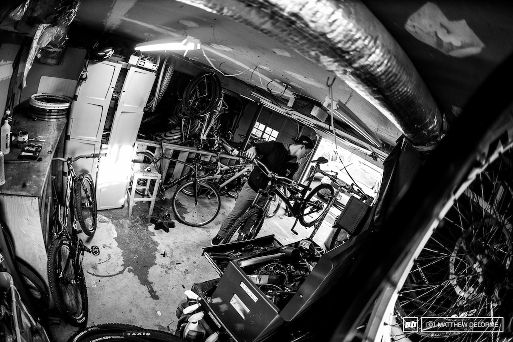 After a ride the bike gets a thorough once over making sure everything is in order and up to Richie s spec.