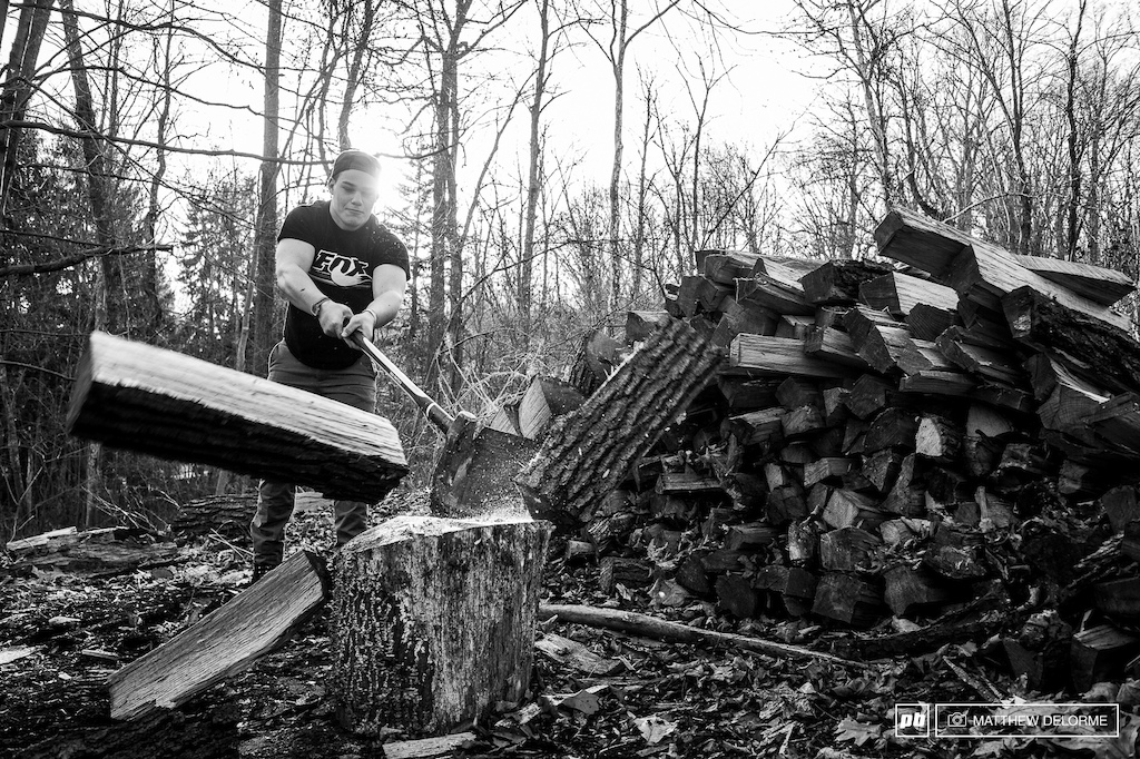 Richie stocking up the fire wood pile. Sometimes keeping the house warm is good training. Doesn t hurt if you are already built like a lumber jack either.