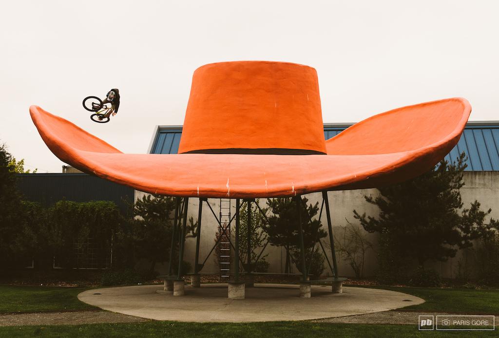 Steven Bafus rides the infamous cowboy hat in Seattle.