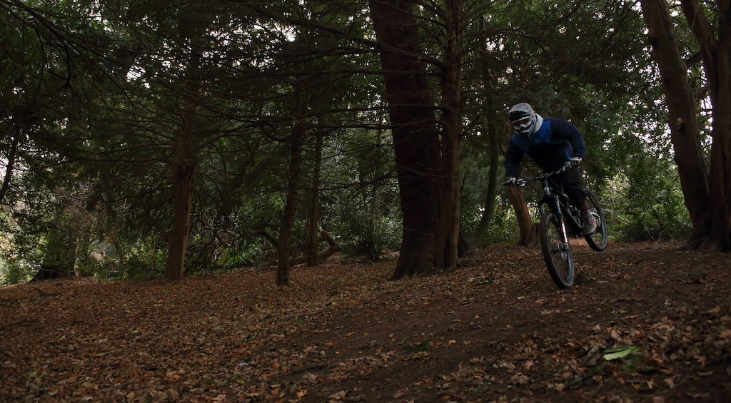 Self portrait of me riding through the woods at the top of darley abbey park.