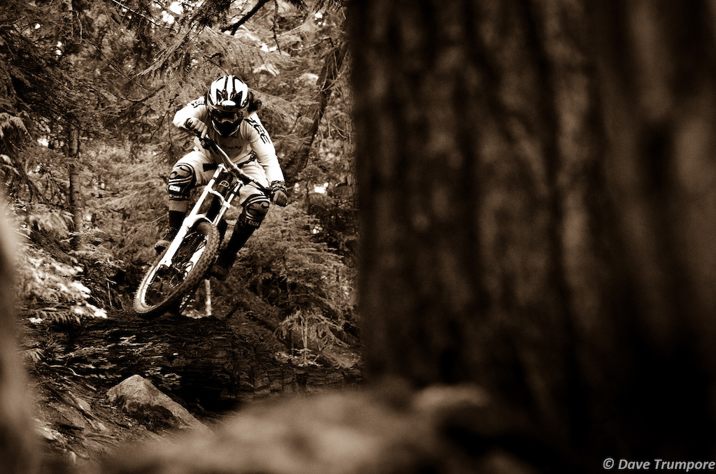 Mikey Haderer through the forest in Whistler