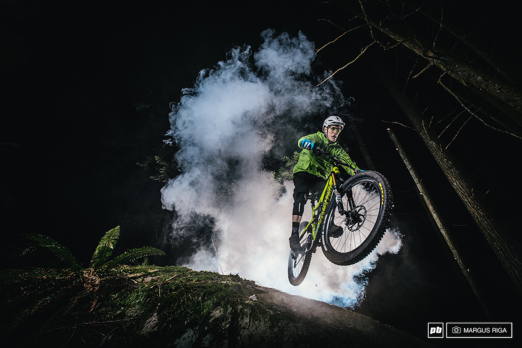 Chris Johnston of the Nomads Enduro team doing some experimenting with me on a foggy night on the Shore.