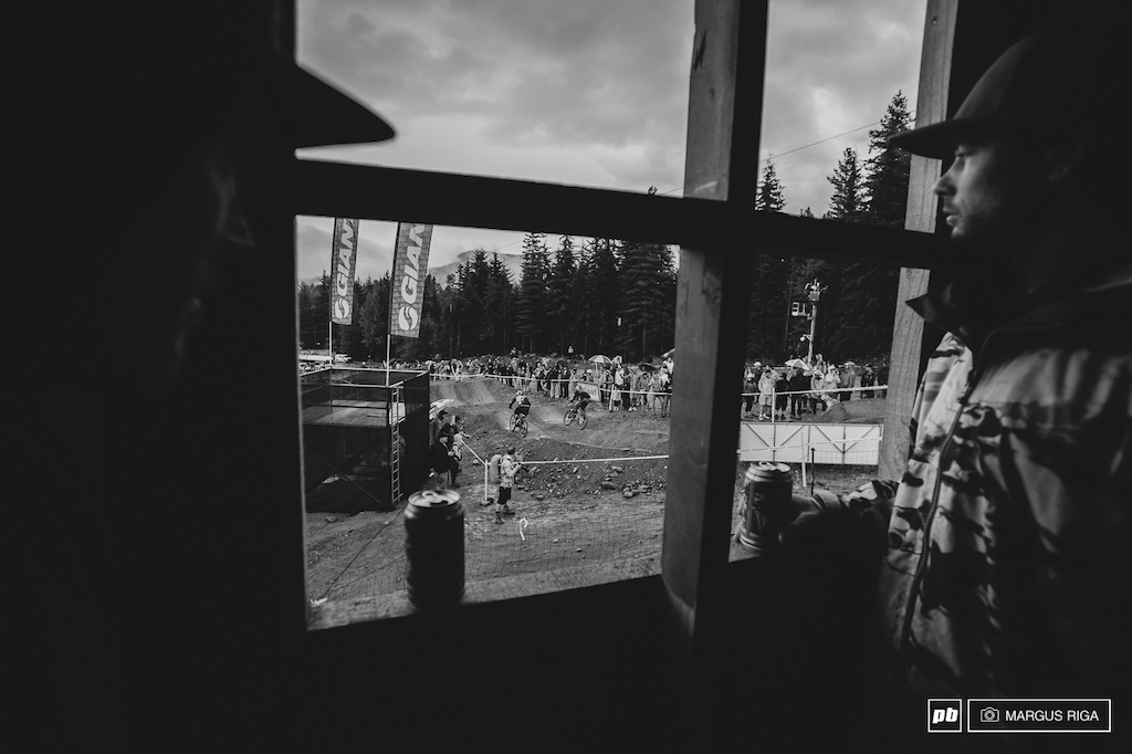 Taking cover from the pouring rain while shooting the Dual Slalom finals at Crankworx Whistler with a couple of old Whistler friends Paddy Kaye and Gray Rodier.