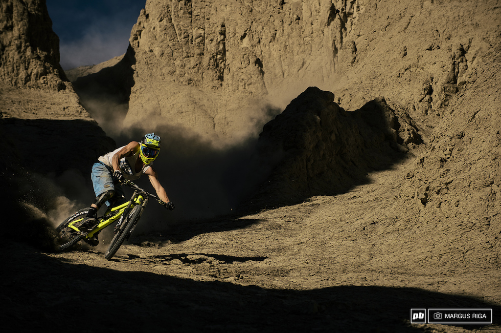 James Doerfling has quietly been sending it harder than most for many years but he has only come into the spotlight the last couple of years. With balls as big as his it was only a matter of time before more people noticed. Here he is on an early season photo video shoot in Spences Bridge BC. What you can t see in this shot is how steep this chute is I had my camera pointed pretty much straight up in the air . Full control full speed.