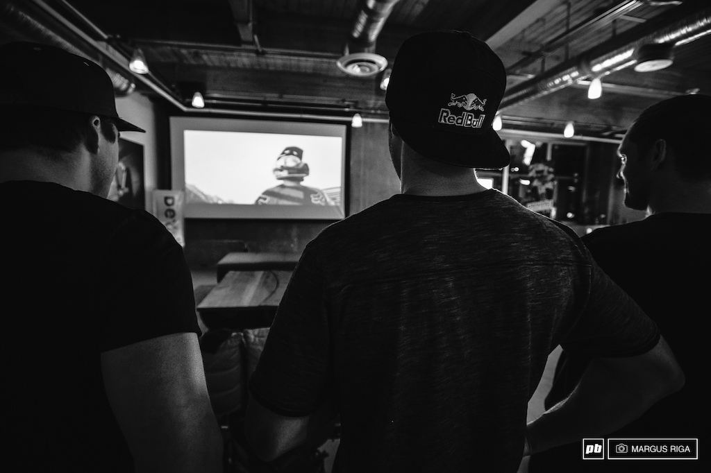 2013 was the year Stevie Smith won the World Cup DH title. Here he is with Andrew Shandro and friends watching his winning run at the Red Bull Media house in Vancouver BC.