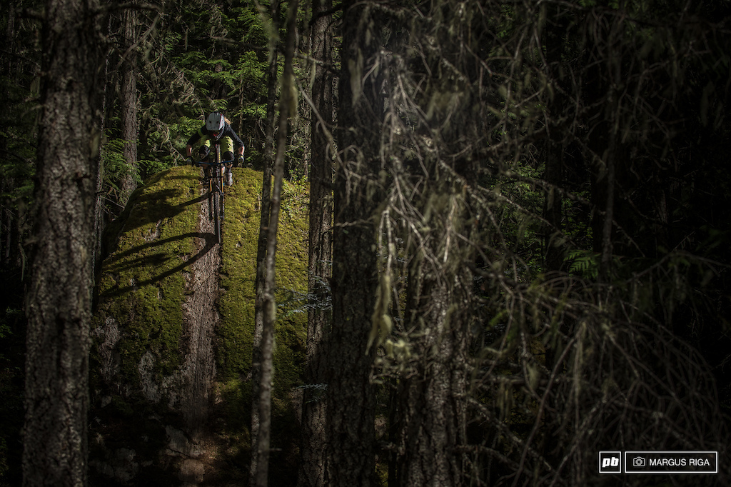 Katrina Strand drops in on The Green Monster in Whistler BC. Not in the bike park.