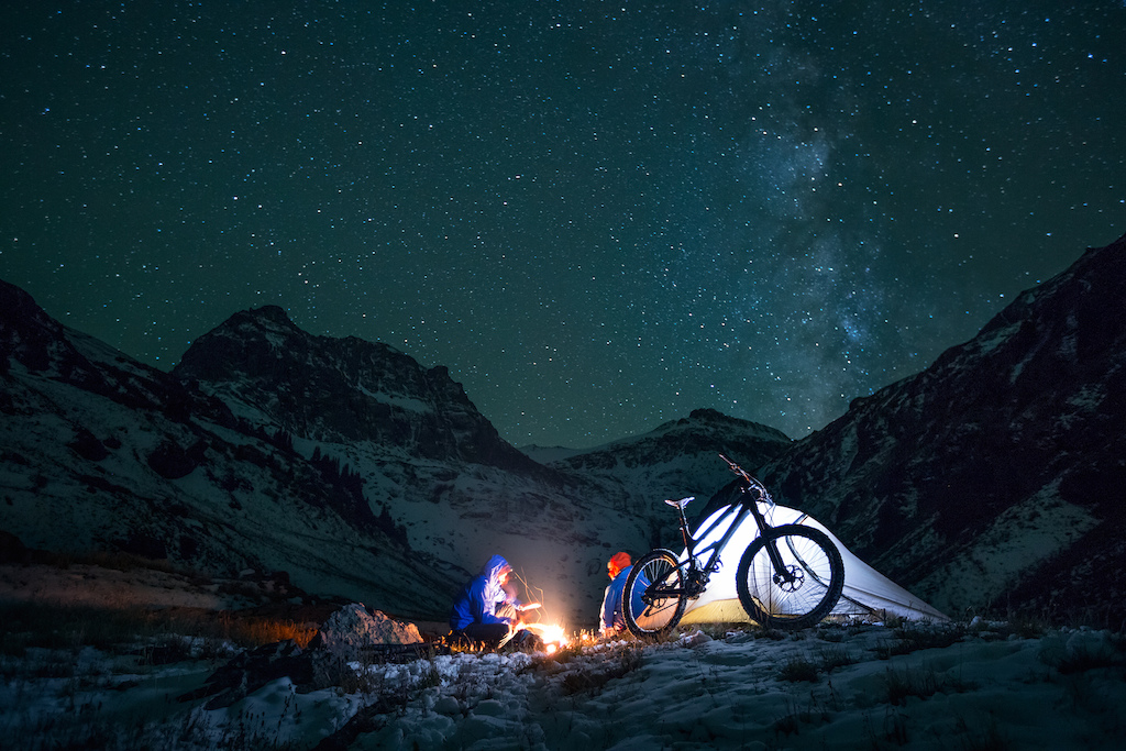The life of the Yeti media crew is not all popping light and singletrack. It can be fun, but usually it is long days fighting the weather to get one shot or a few seconds of footage. Shown here in the fall camping at 10,000 feet high in the San Juan mountains. All that work just to be at the right spot for first light. 