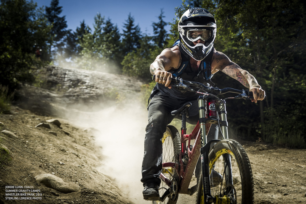 Jordie Lunn, coaching for Summer Gravity Camps, in the Whistler Bike Park, July 2013.