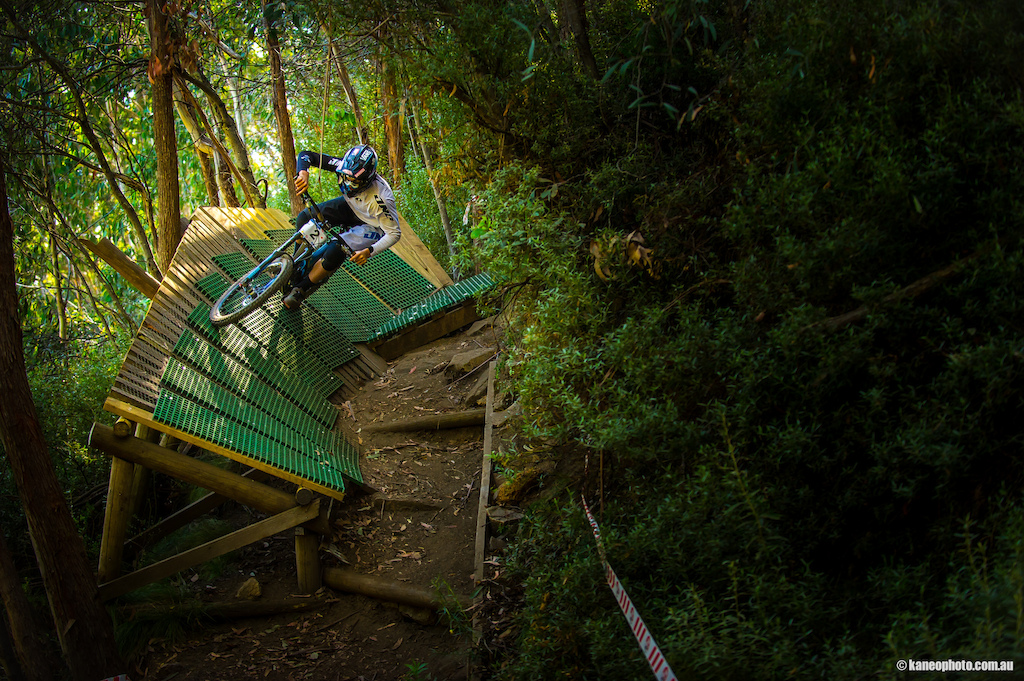 One of my favourite shots of the weekend. Freshly signed Devinci WC rider Dean Lucas smashing his way in to 2nd at round 2 of the Australian DH series.