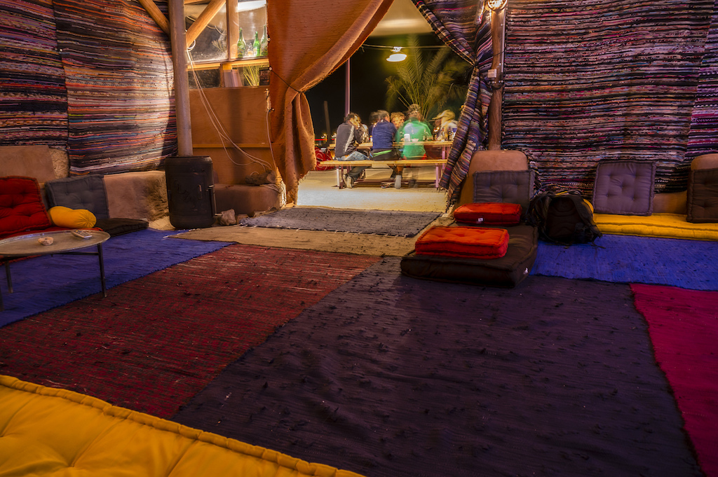 Are we outside Inside Samar Kibbutz was the perfect post-ride zone to hang out in. Marc Gasch photo
