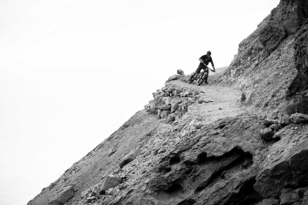 The moment you realize you re riding your bike down a hand-built epic of a trail in Israel. Marc Gasch photo