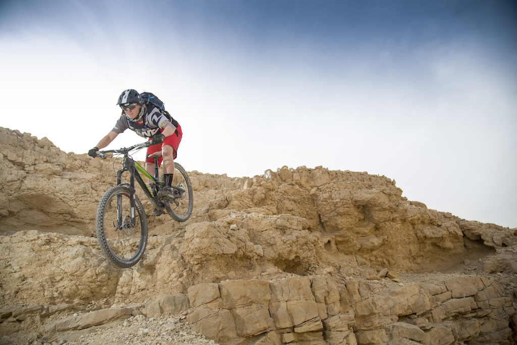 Some technical sections could be found on the Shayarot Cliffs trails. What you don t see is another no-fall-zone to Sarah s left here. Alon Ron photo.