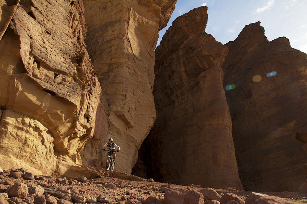 Sarah in the fold of the Timna Trail