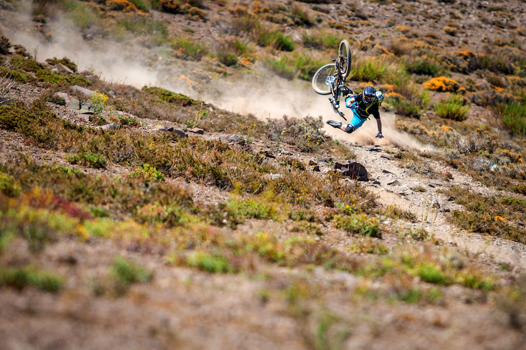 The Chilean anti grip soil caught most competitors in the Andes Pacifico off guard at least once. Here Joey Schusler takes a high speed tumble on day one, stage two.