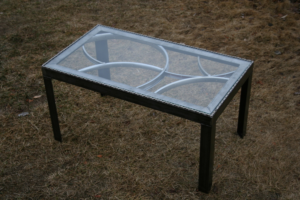 Charming A Bike Wheel Coffee Table Built For Order.