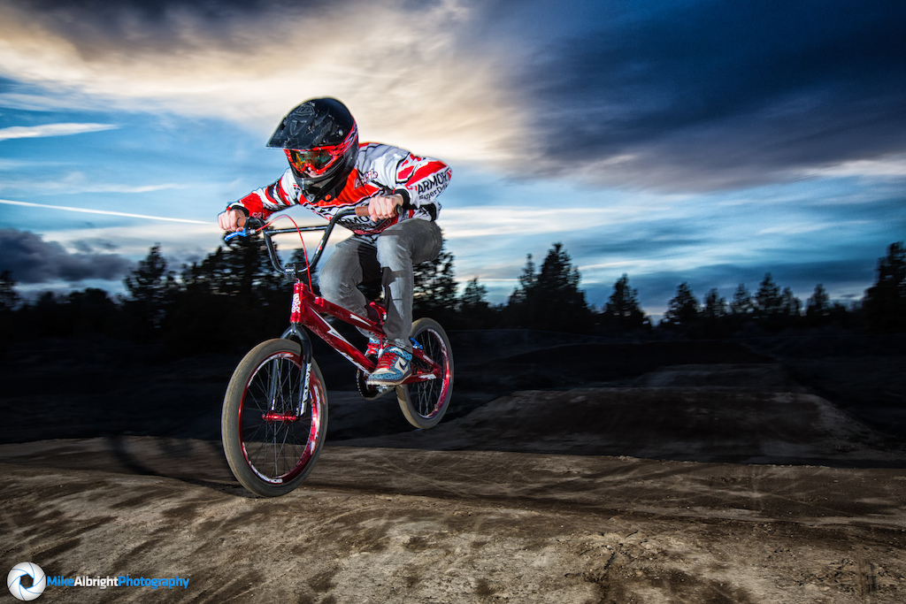 Jaden Sequeira with a little high-speed nose tap at the newly remodled High Desert BMX track in Bend, Oregon