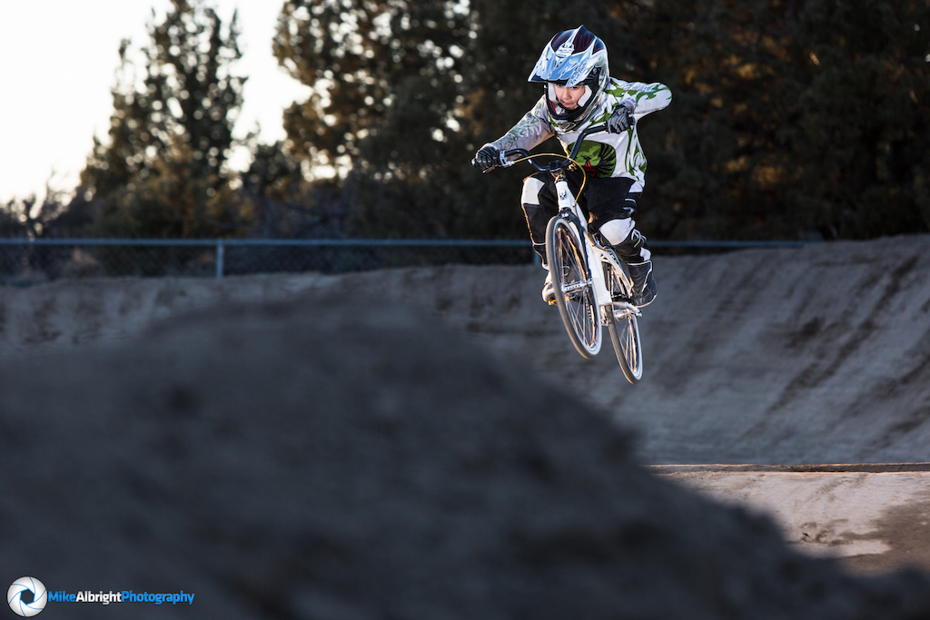 Banyan Howell tries out the newly remodeled High Desert BMX track in Bend, Oregon