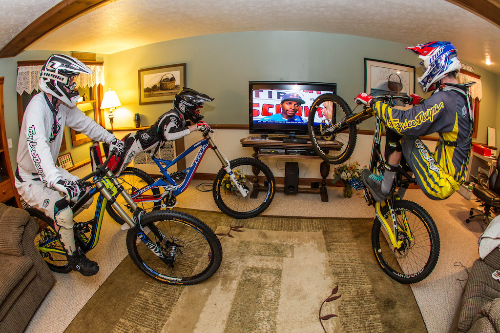 Just watching some Supercross and getting pumped for the 2014 Downhill race season!  Bikes: 2014 GT Fury World Cup, Team, and Expert