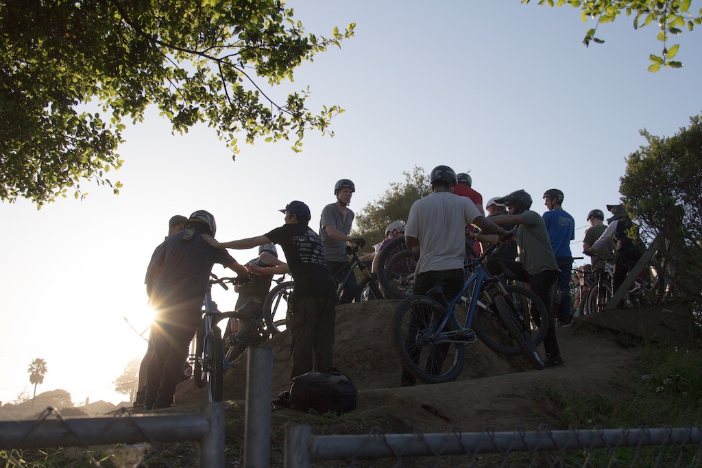 the pros lining up as the sun goes down