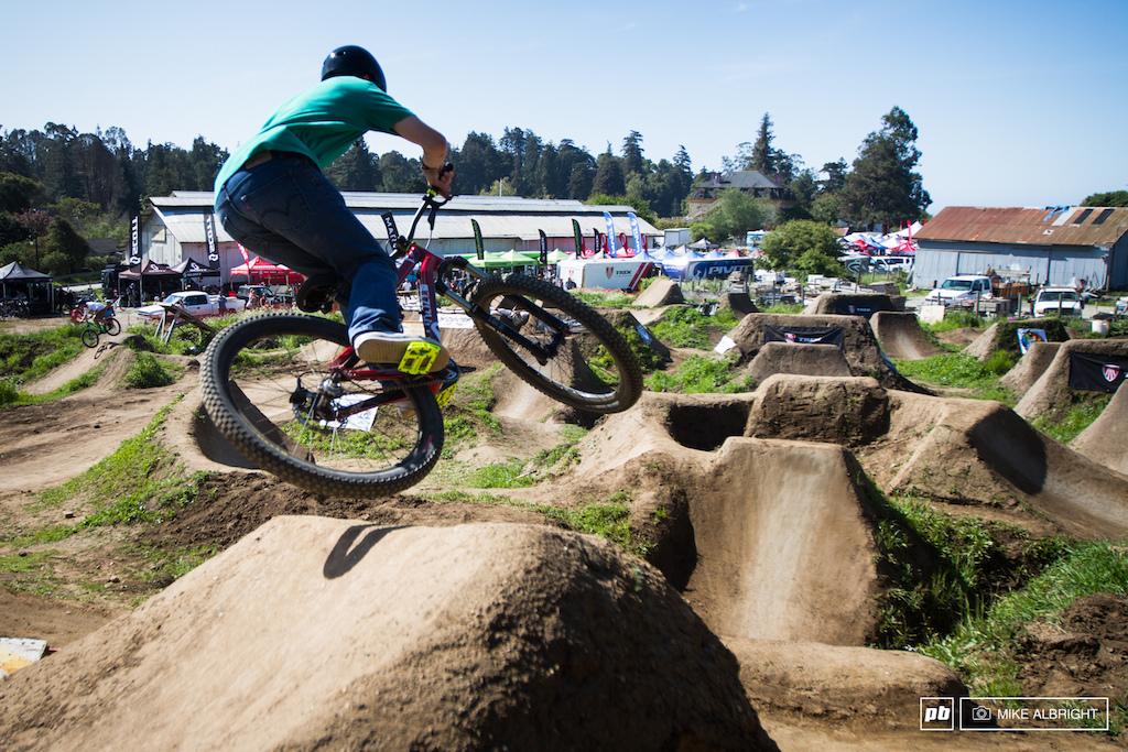 Dropping in at the 2014 Santa Cruz Mountain Bike Festival in Aptos CA.