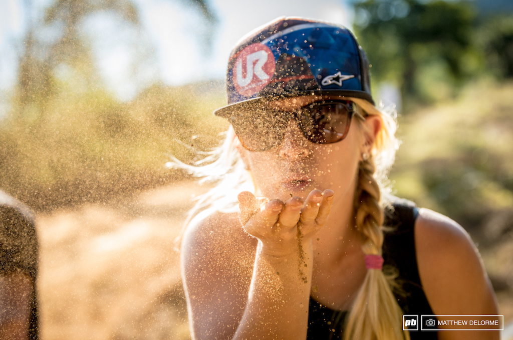 Just seventeen days ago, Greg Minnaar posted an Instagram photo of the World Cup venue here in Pietermaritzburg with the little creek that runs quietly through the backside of the pits roaring like the Congo swollen from monsoon rains.  Now, the conditions are back to hard packed, dry, and dusty, as Tracey Hannah demonstrates. The forecast at this point is calling for sunny skies and warm temps, particularly appealing to those of us coming off an unusually frigid winter.