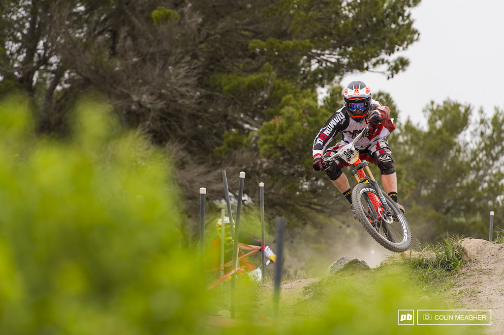 Diamondback s Kyle Thomas getting his Enduro --I mean DH Practice--in the can.