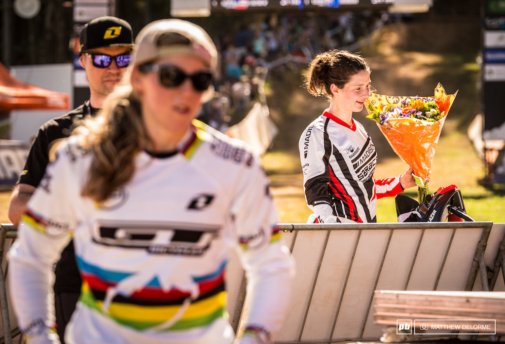Manon Carpenter had what it took today. Following the theme of making good on qualifying results Manon finished 3.908 seconds up on Rachel Atherton. Atherton has been fighting her way back from an illness this week but she just didn t have the strength to pull ahead.