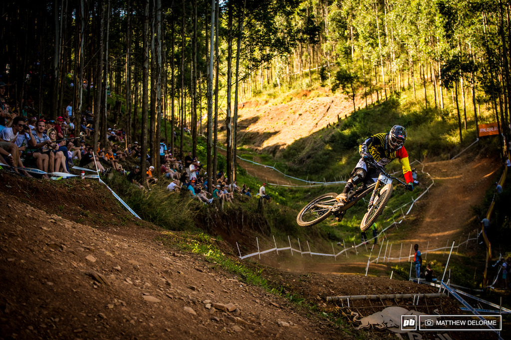Spanish national champion Antonio Ferrerio sending it over the last jump and catching the last rays of sun into the finish.