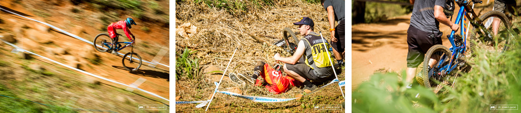 2014 UCI World Cup - Patrick Thome getting it wrong in the last rock garden ending up in the grass and an exploded seatpost.