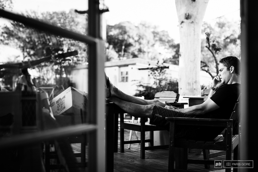 Mick Hannah contemplates the day and catching up with family back home in Australia. Cairns just had a massive cyclone hit the area but will be all good to go in a few weeks for the next round of the UCI World Cup.