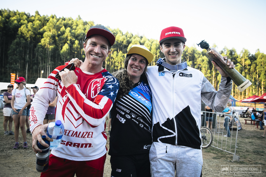 Team America full category sweep with Luca Shaw making his first World Cup win as Junior Jill Kintner putting her feet on the highest step in her downhill career and of course Aaron Gwin making a big comeback.