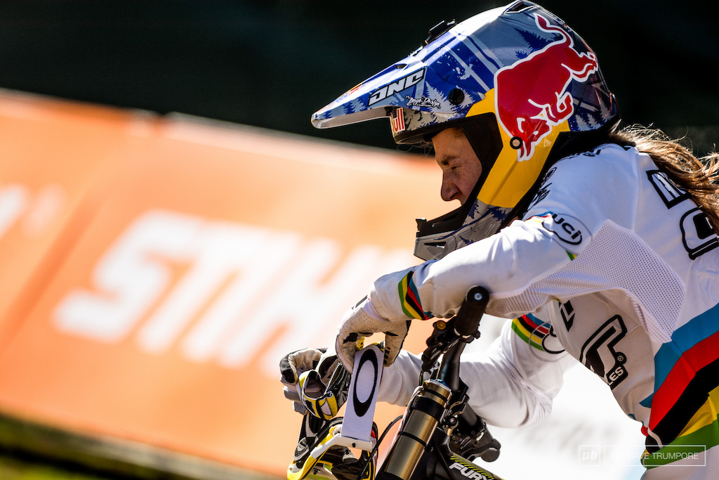 Rachel Atherton had a tough stay here in South Africa while battling a bacterial infection the past few days. Upon crossing the finish line it was obvious that today was a struggle.