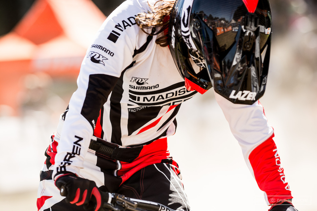 Manon Carpenter catches her breath after crossing the line to take her first World Cup win.
