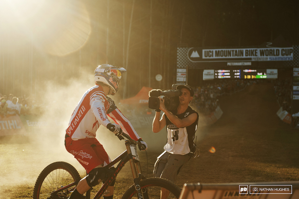It s been quite a break since Gwin looked back on the green. Over 2 seconds up as a result of the fastest downhill mountain biking the World has seen so far and all on a machine that would have seen a less brilliant rider torn apart in the boulders.