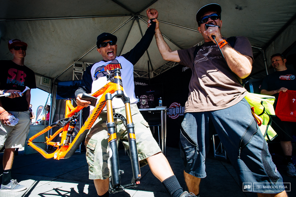 Noon hour antics and bike giveaways at the PB tent.