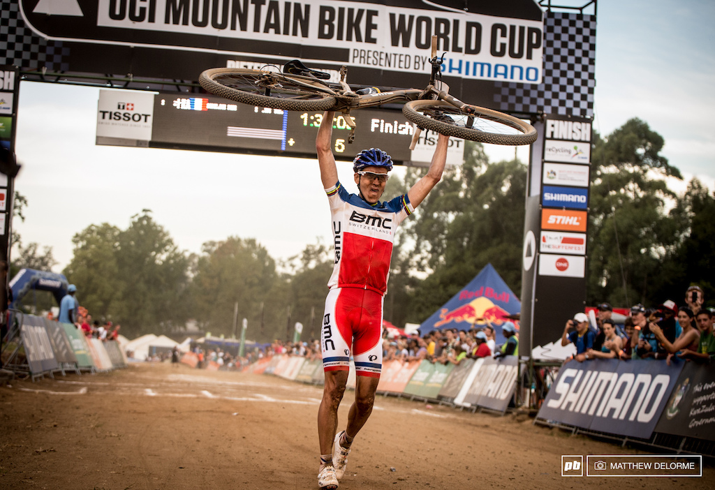 Absalon and Schurter went out as they usually do shelling each other trying to see who will break first on this day Julien Absalon emerged victorious.