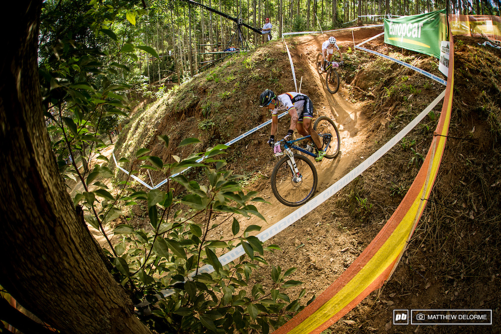The cork screw is a fast tight berm descent about mid course it feeds into a rocky downhill that terminates to a road climb. The Course at Pietermaritzburg is long 5.7 kilometers to be exact. It was redesigned this year with added climbing and much more technical terrain.