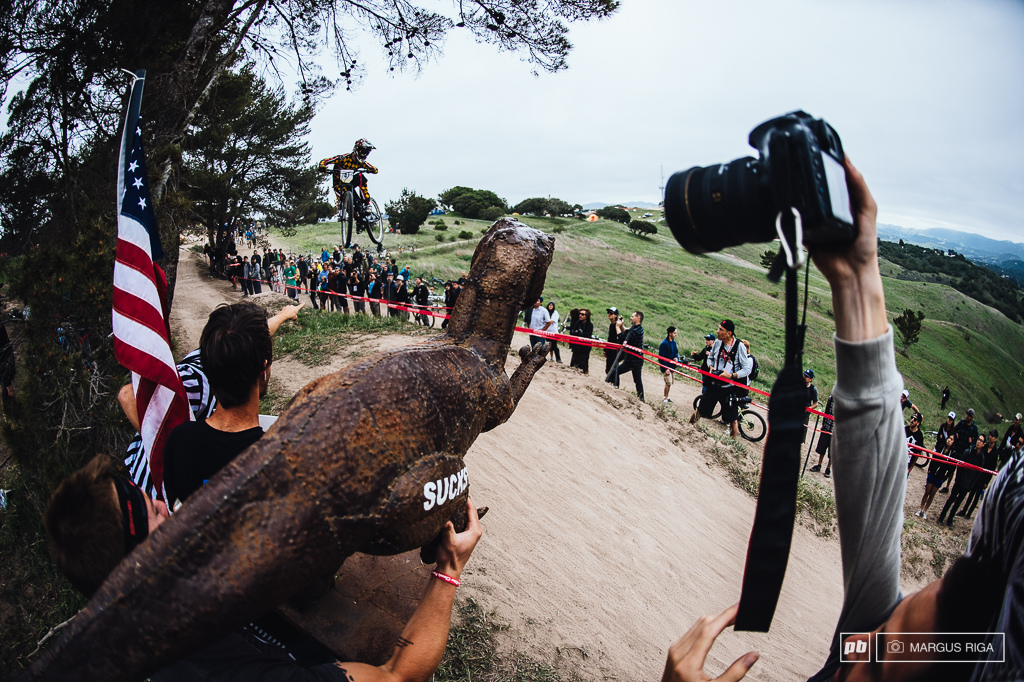 The big booter on the DH course...always the most fun spot on the course for the spectators.