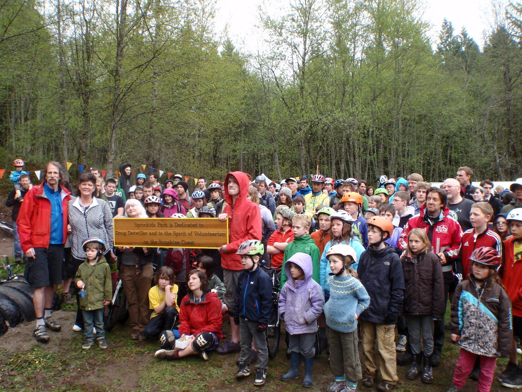 Last spring the Sunshine Coast Regional District officially dedicated the Sprockids Mountain Bike Park to all the volunteers who donated their time and resources to make the park a reality. Three generations of mountain bikers attended the event.