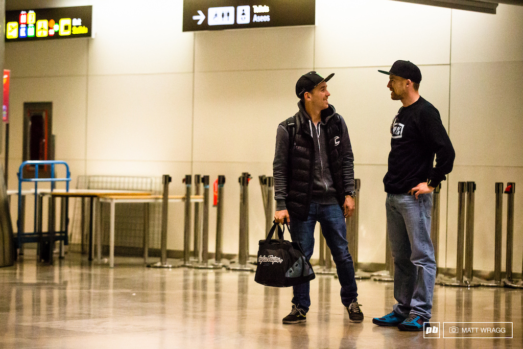 Midnight Madrid Airport 9 April. With only a few flight a day from mainland Europe to Chile it turned out that quite a few of the European riders headed out on the same flight. We saw Jerome Clementz Remy Absalon Nico Lau and Manuel Ducci all in the airport at the same time.