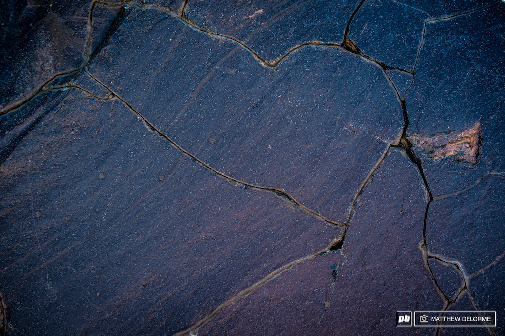 A little volcanic rock texture probably cracked as it was cooling after the volcano hurtled out of the belly of the earth.