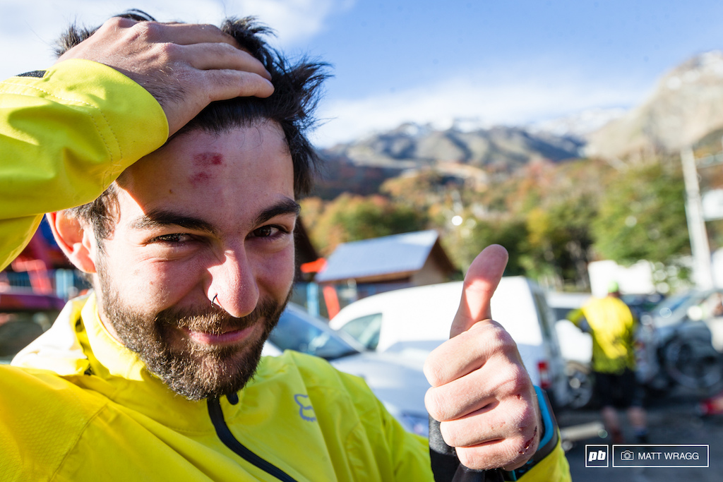 Iago Garay had a close call on track today but walked away smiling. Even a crash didn t dampen his enjoyment of the trail network here he was grinning from ear to ear come evening.